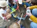 Muscheln suchen, Plastiktier aussuchen